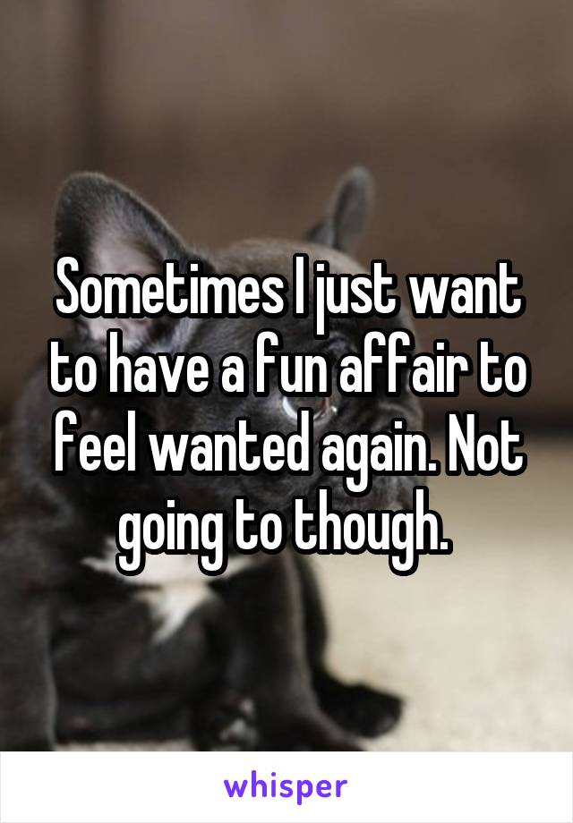 Sometimes I just want to have a fun affair to feel wanted again. Not going to though.