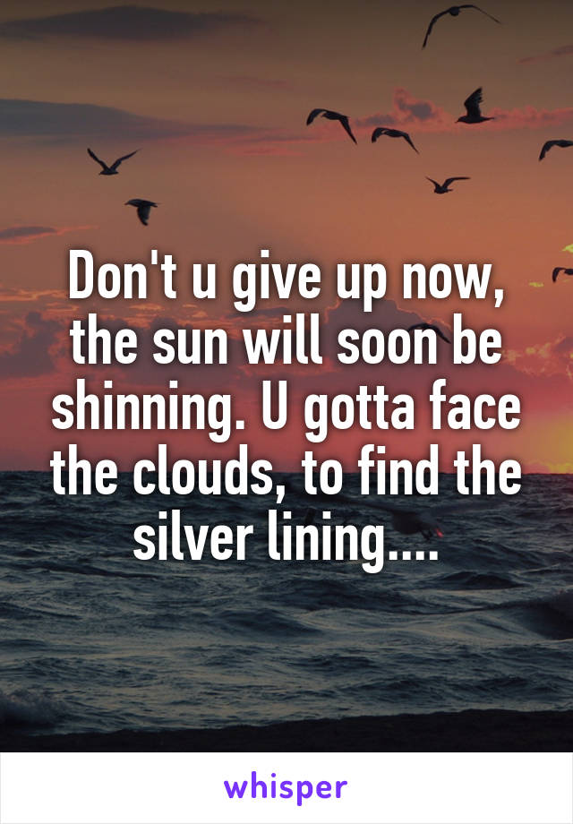 Don't u give up now, the sun will soon be shinning. U gotta face the clouds, to find the silver lining....