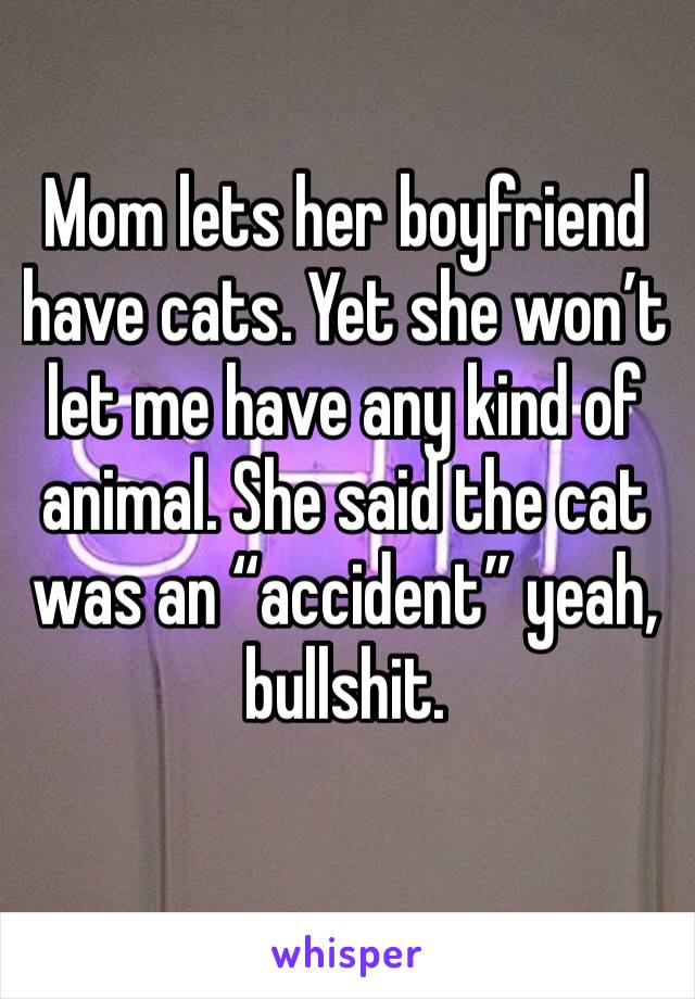 "Mom lets her boyfriend have cats. Yet she won't let me have any kind of animal. She said the cat was an ""accident"" yeah, bullshit."