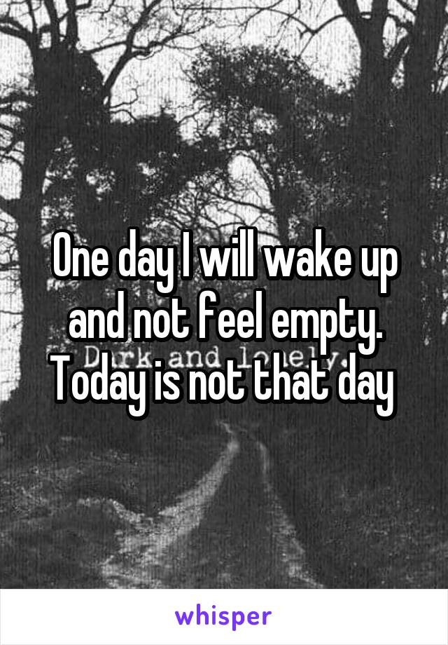 One day I will wake up and not feel empty. Today is not that day