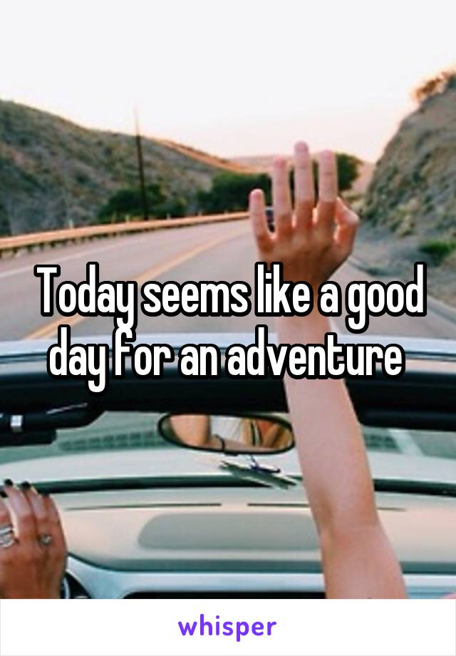 Today seems like a good day for an adventure