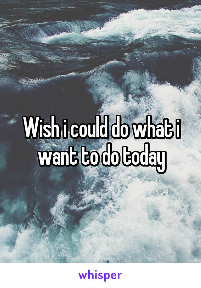 Wish i could do what i want to do today