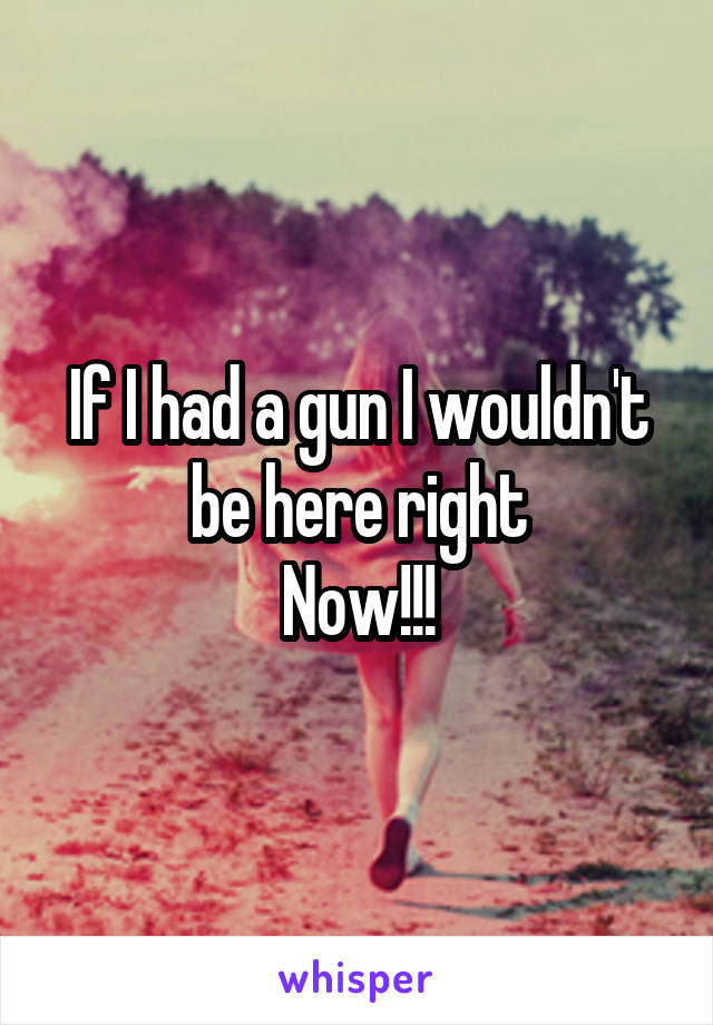 If I had a gun I wouldn't be here right Now!!!
