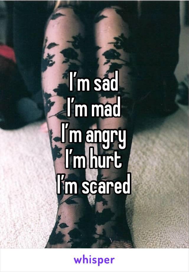 I'm sad I'm mad I'm angry I'm hurt I'm scared