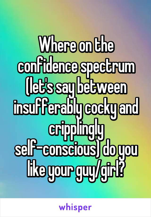 Where on the confidence spectrum (let's say between insufferably cocky and cripplingly self-conscious) do you like your guy/girl?