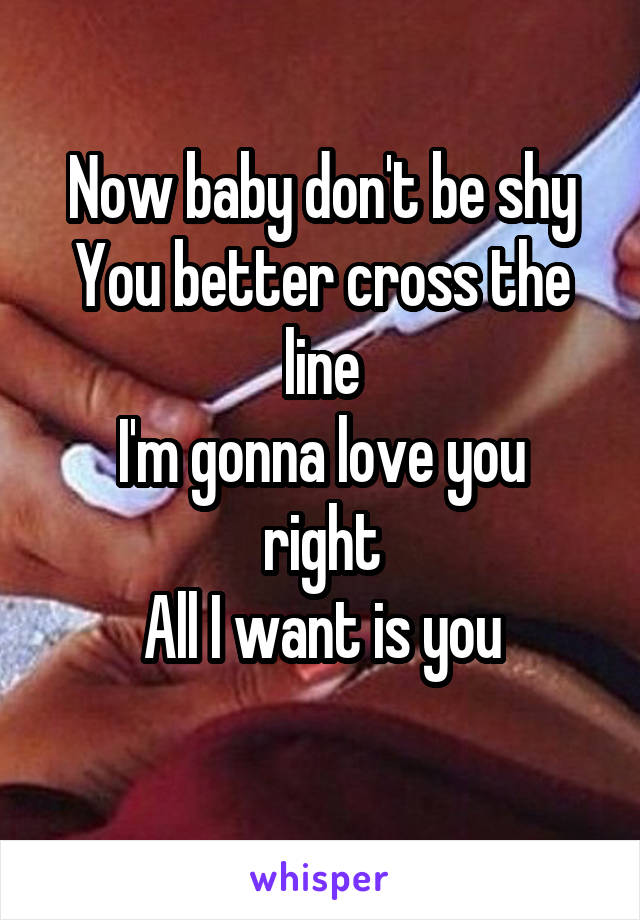 Now baby don't be shy You better cross the line I'm gonna love you right All I want is you