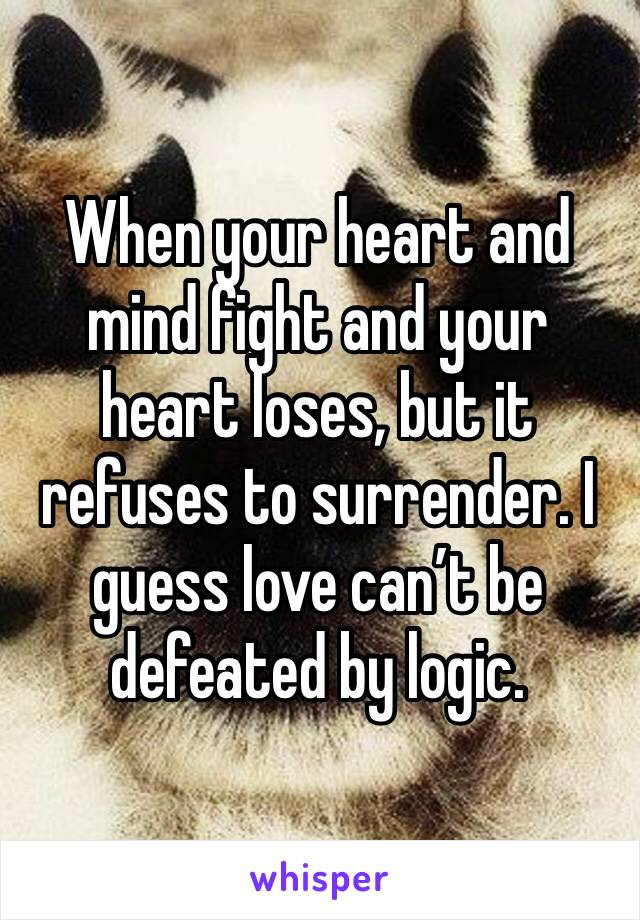 When your heart and mind fight and your heart loses, but it refuses to surrender. I guess love can't be defeated by logic.
