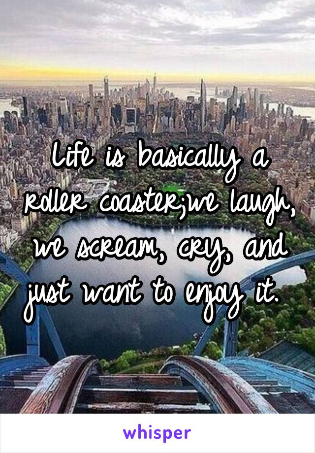 Life is basically a roller coaster;we laugh, we scream, cry, and just want to enjoy it.