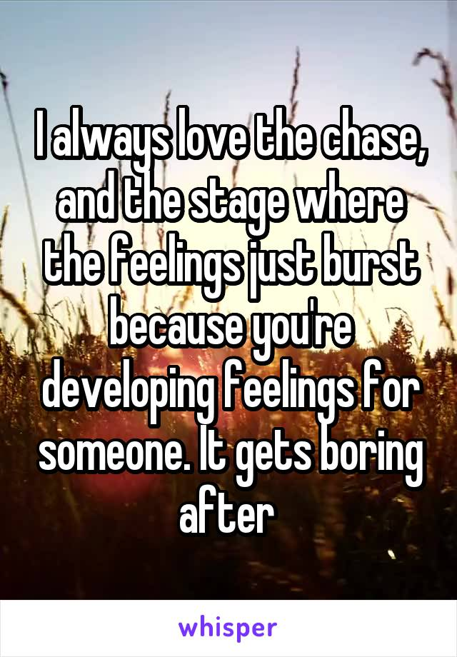 I always love the chase, and the stage where the feelings just burst because you're developing feelings for someone. It gets boring after