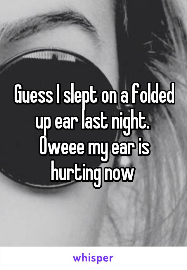 Guess I slept on a folded up ear last night.  Oweee my ear is hurting now