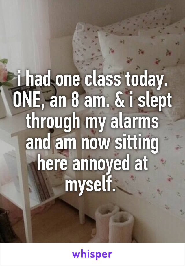 i had one class today. ONE, an 8 am. & i slept through my alarms and am now sitting here annoyed at myself.