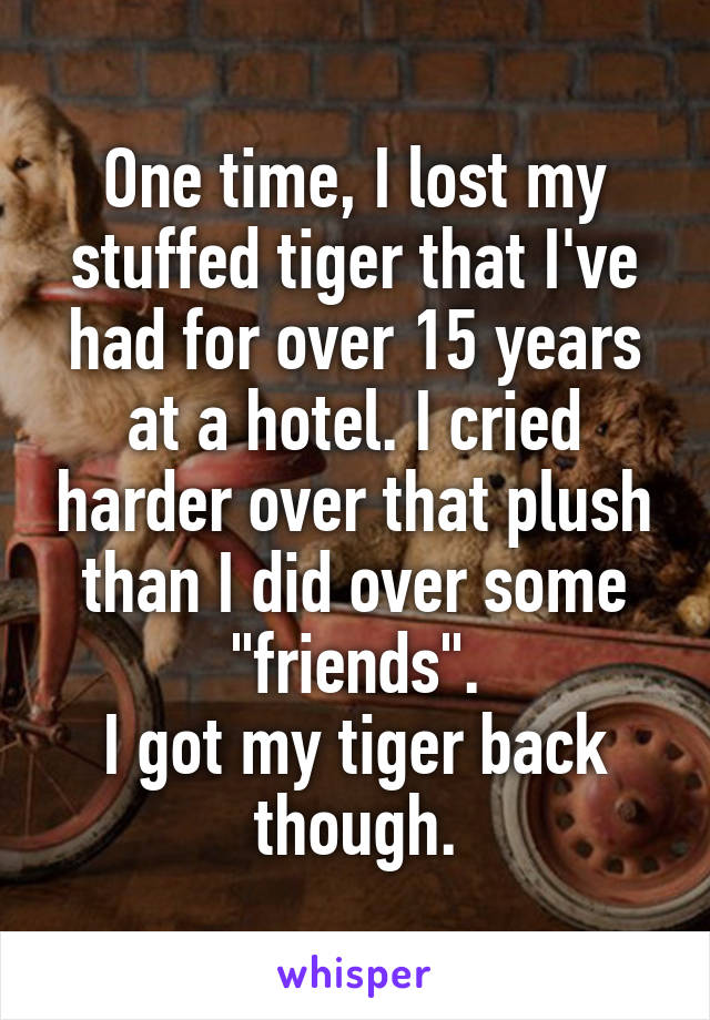 """One time, I lost my stuffed tiger that I've had for over 15 years at a hotel. I cried harder over that plush than I did over some """"friends"""". I got my tiger back though."""