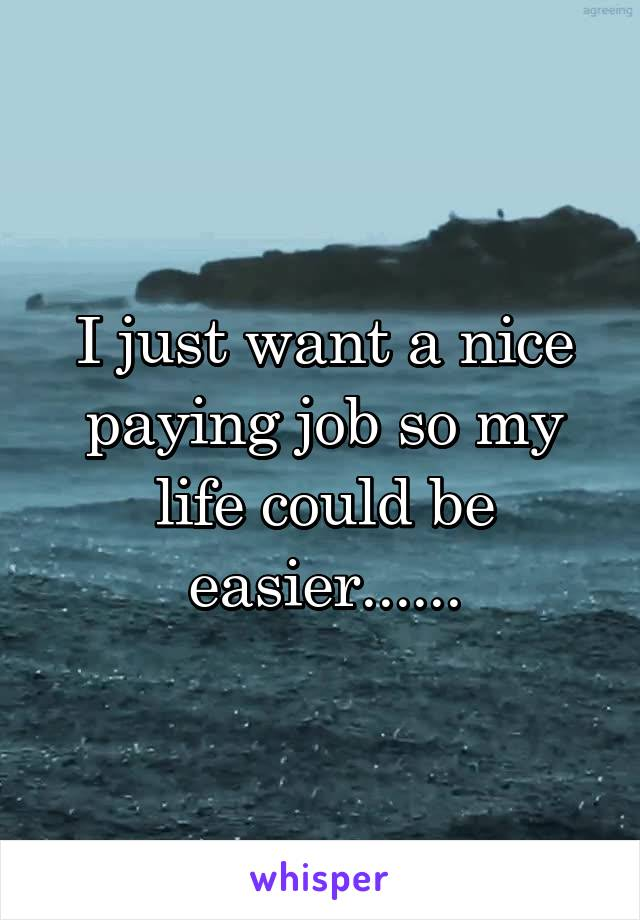 I just want a nice paying job so my life could be easier......