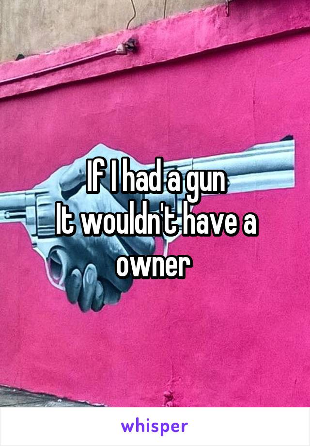If I had a gun It wouldn't have a owner