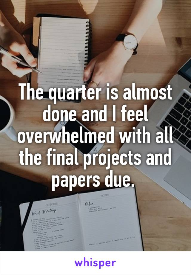The quarter is almost done and I feel overwhelmed with all the final projects and papers due.