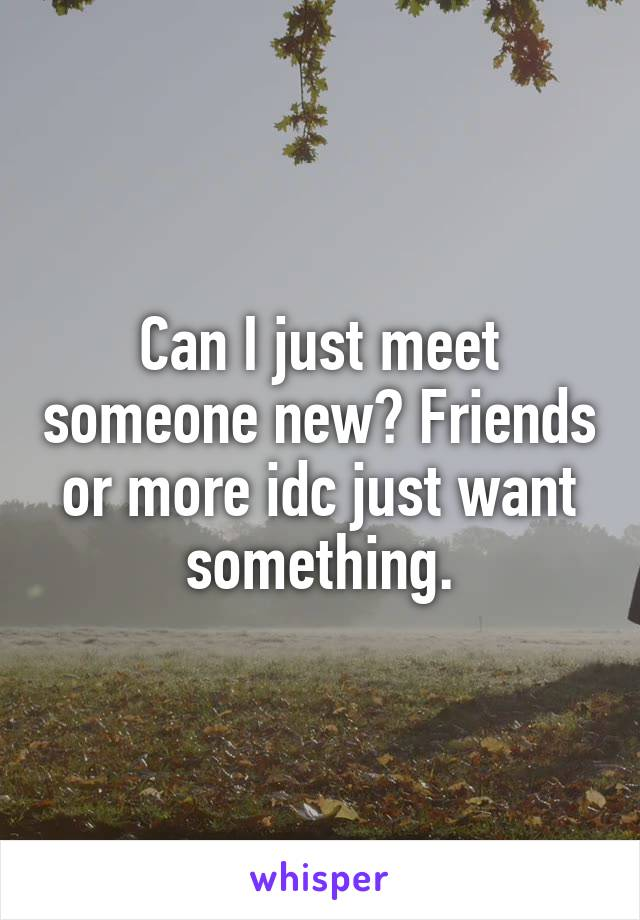 Can I just meet someone new? Friends or more idc just want something.