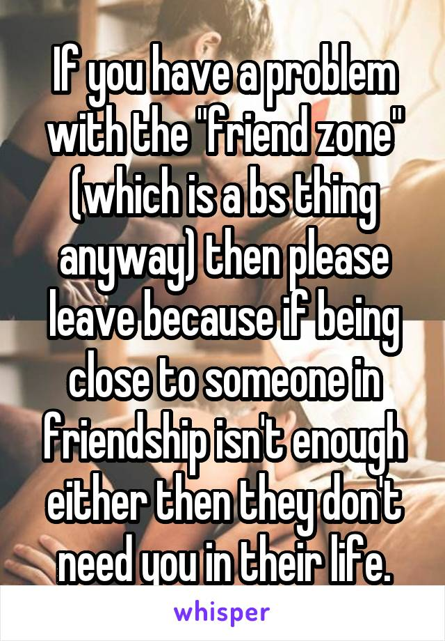 "If you have a problem with the ""friend zone"" (which is a bs thing anyway) then please leave because if being close to someone in friendship isn't enough either then they don't need you in their life."