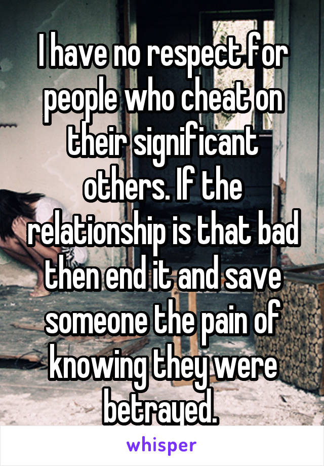 I have no respect for people who cheat on their significant others. If the relationship is that bad then end it and save someone the pain of knowing they were betrayed.