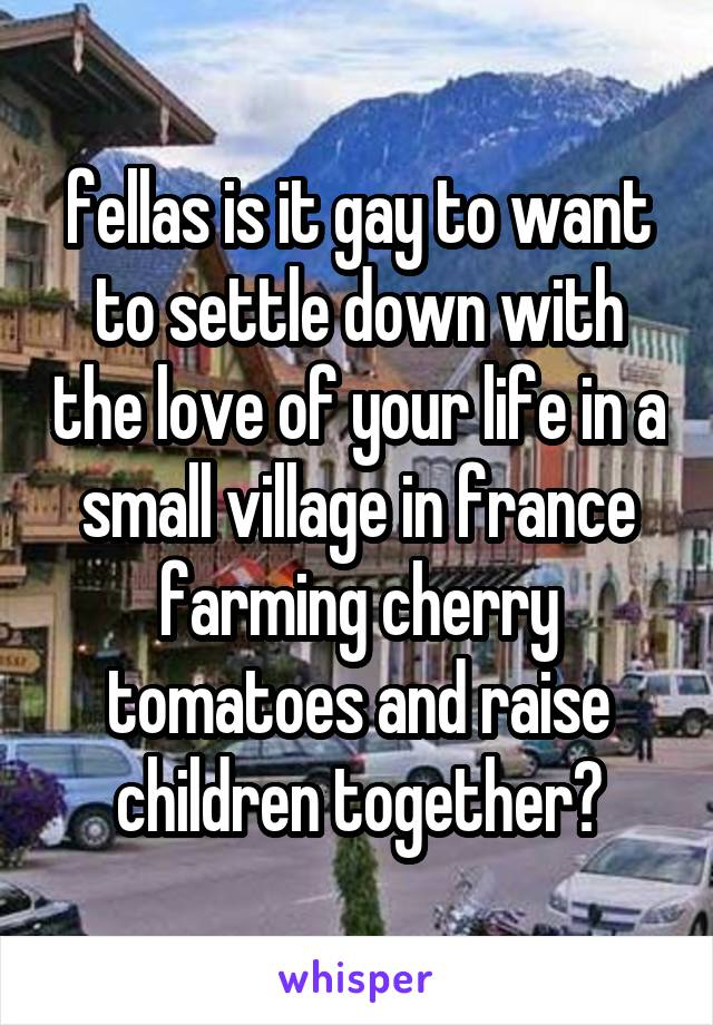 fellas is it gay to want to settle down with the love of your life in a small village in france farming cherry tomatoes and raise children together?