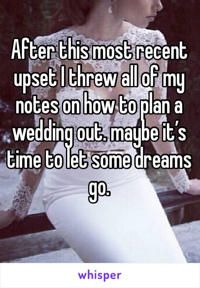 After this most recent upset I threw all of my notes on how to plan a wedding out. maybe it's time to let some dreams go.