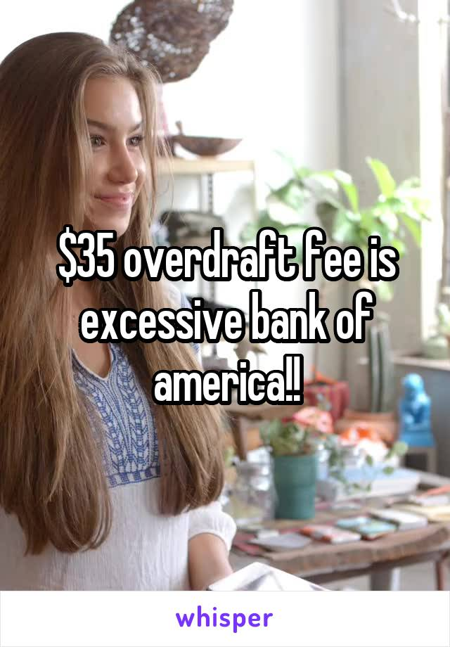 $35 overdraft fee is excessive bank of america!!
