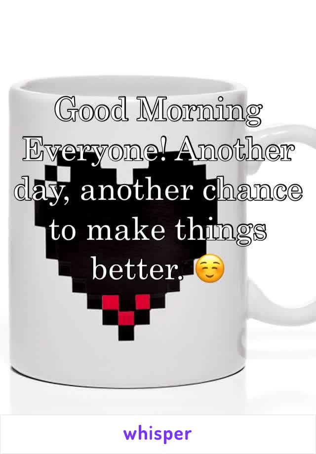 Good Morning Everyone! Another day, another chance to make things better. ☺️