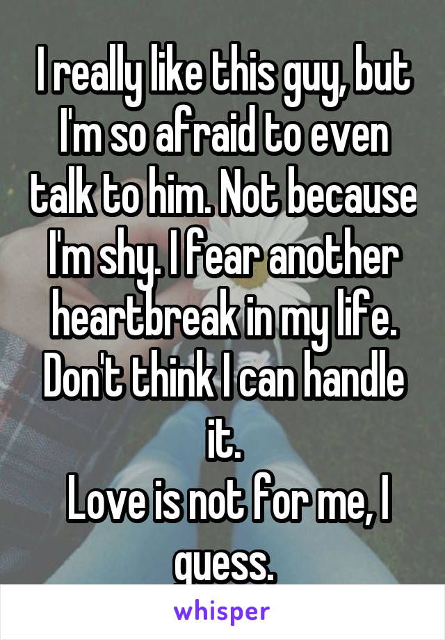 I really like this guy, but I'm so afraid to even talk to him. Not because I'm shy. I fear another heartbreak in my life. Don't think I can handle it.  Love is not for me, I guess.