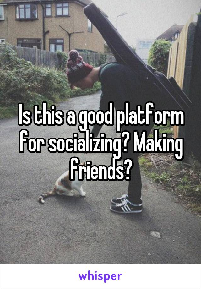 Is this a good platform for socializing? Making friends?