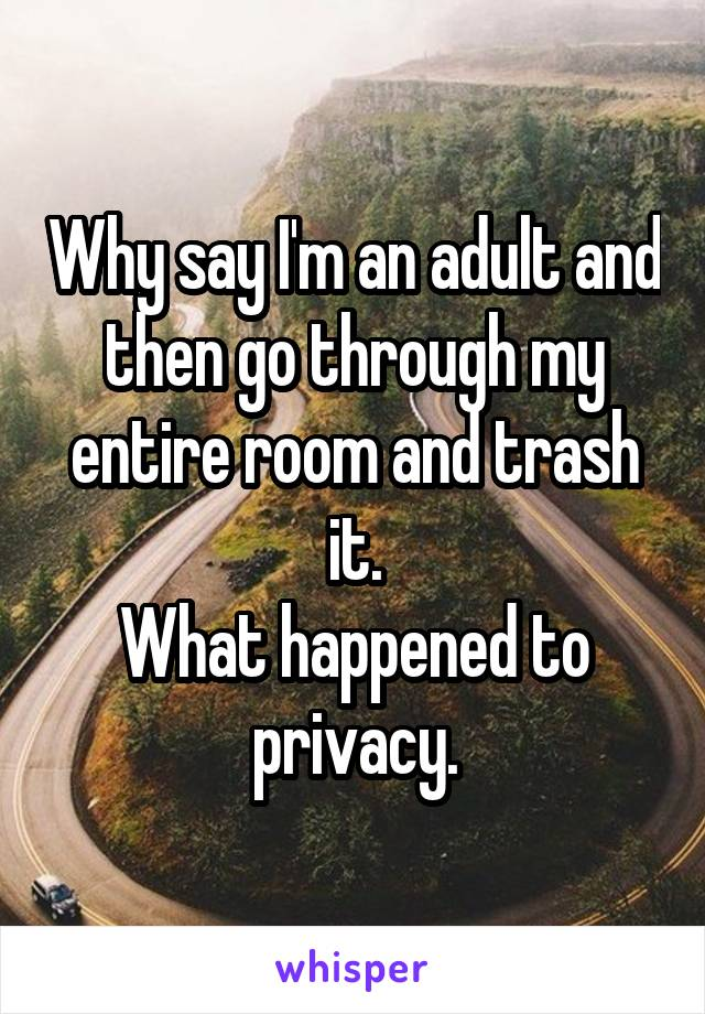 Why say I'm an adult and then go through my entire room and trash it. What happened to privacy.