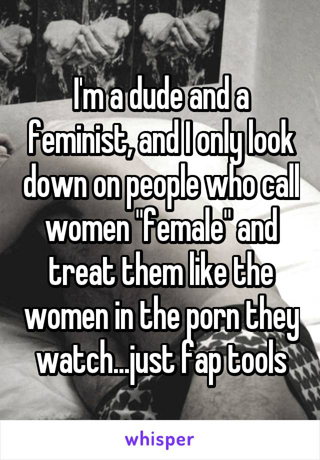 """I'm a dude and a feminist, and I only look down on people who call women """"female"""" and treat them like the women in the porn they watch...just fap tools"""