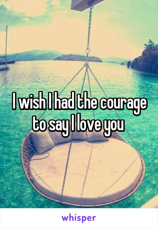I wish I had the courage to say I love you