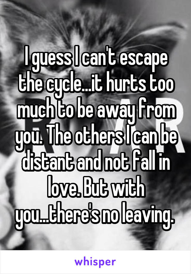 I guess I can't escape the cycle...it hurts too much to be away from you. The others I can be distant and not fall in love. But with you...there's no leaving.