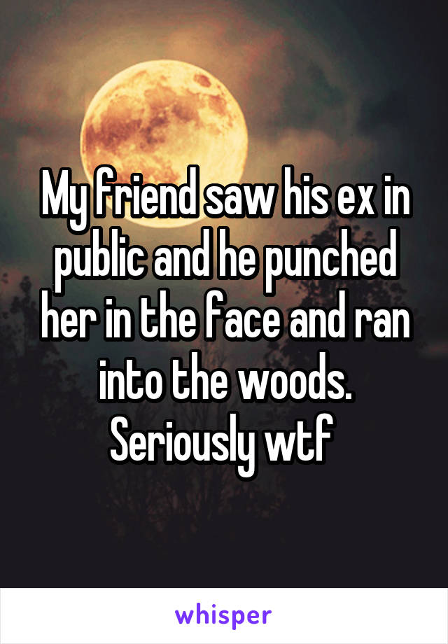My friend saw his ex in public and he punched her in the face and ran into the woods. Seriously wtf