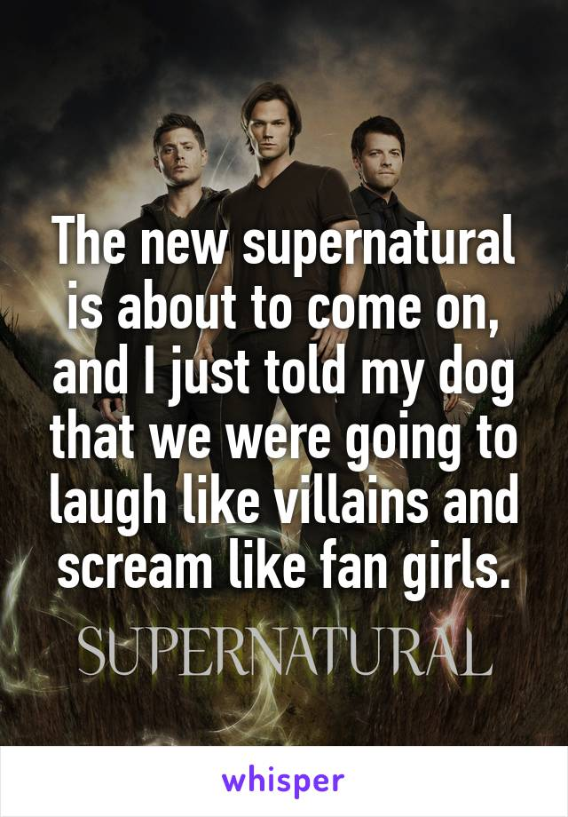 The new supernatural is about to come on, and I just told my dog that we were going to laugh like villains and scream like fan girls.