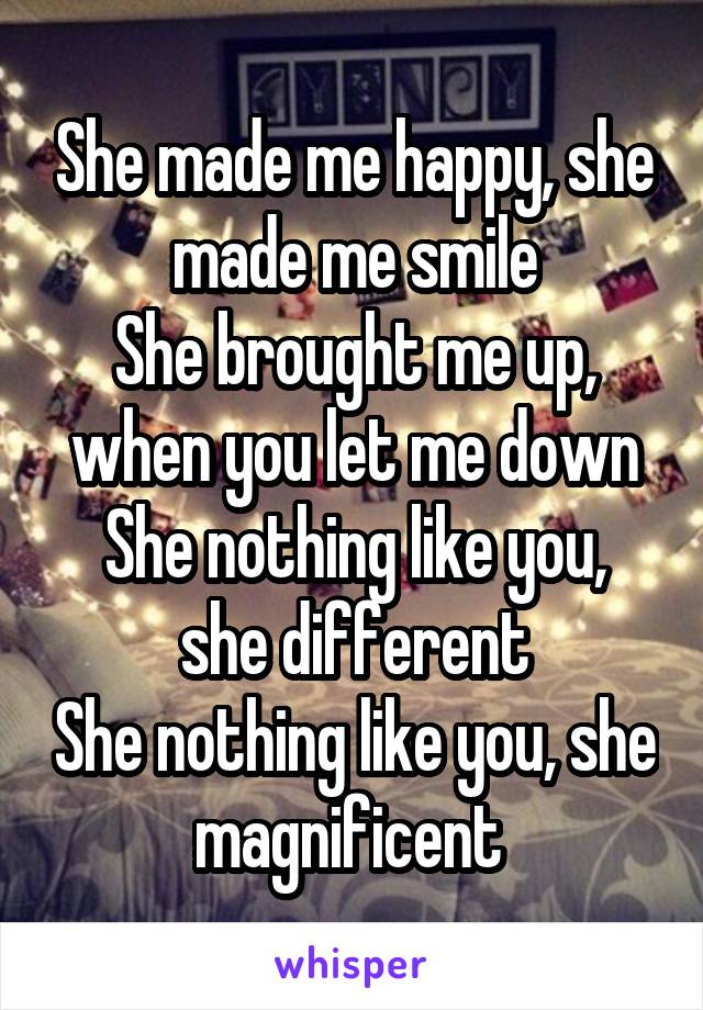 She made me happy, she made me smile She brought me up, when you let me down She nothing like you, she different She nothing like you, she magnificent