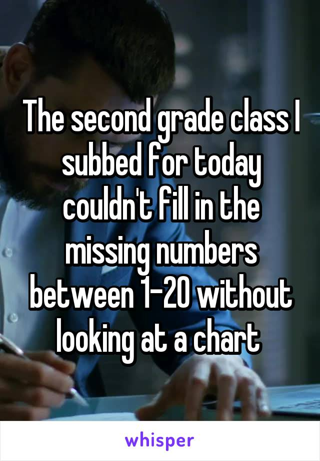 The second grade class I subbed for today couldn't fill in the missing numbers between 1-20 without looking at a chart