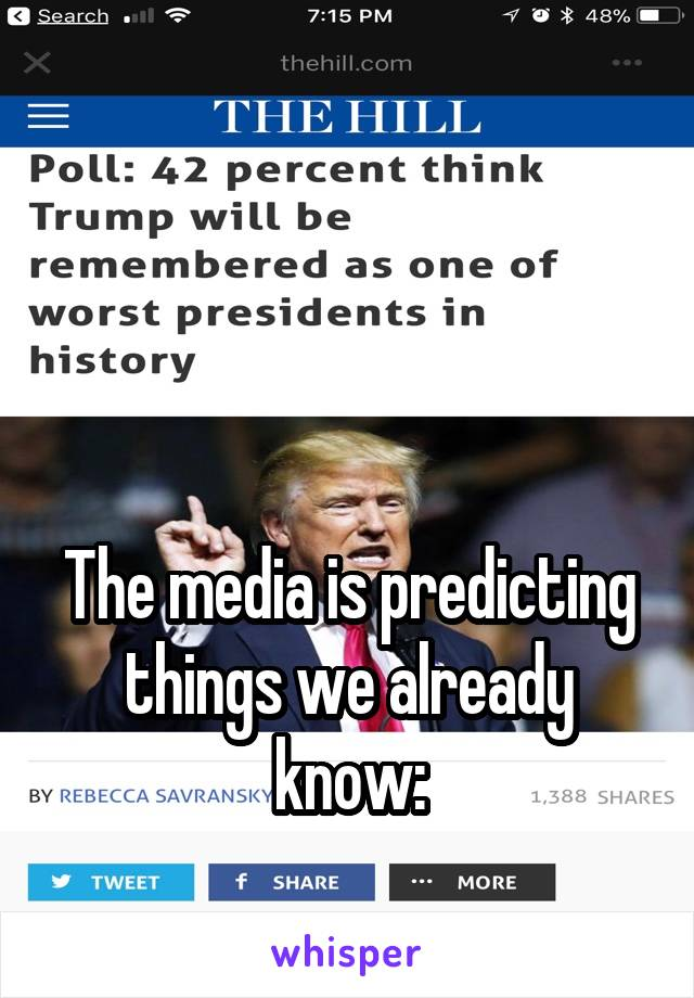 The media is predicting things we already know: