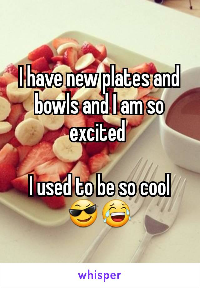 I have new plates and bowls and I am so excited   I used to be so cool 😎😂