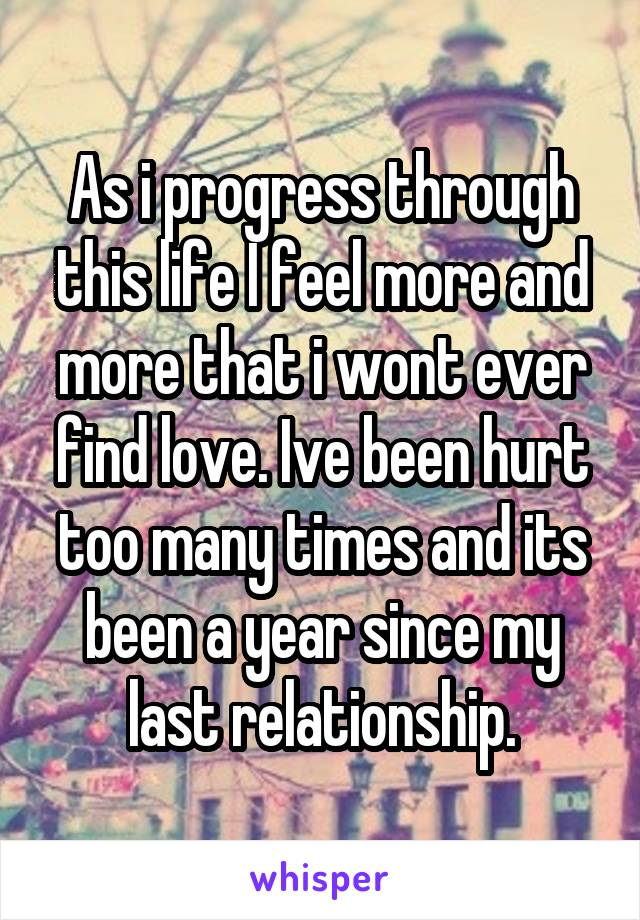 As i progress through this life I feel more and more that i wont ever find love. Ive been hurt too many times and its been a year since my last relationship.