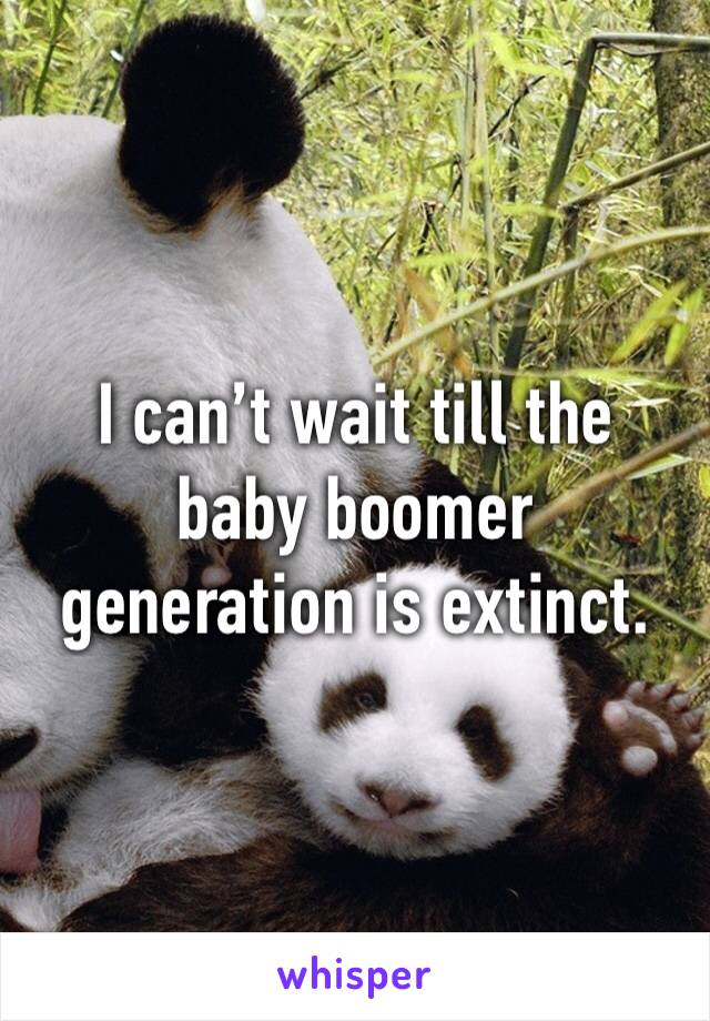 I can't wait till the baby boomer generation is extinct.