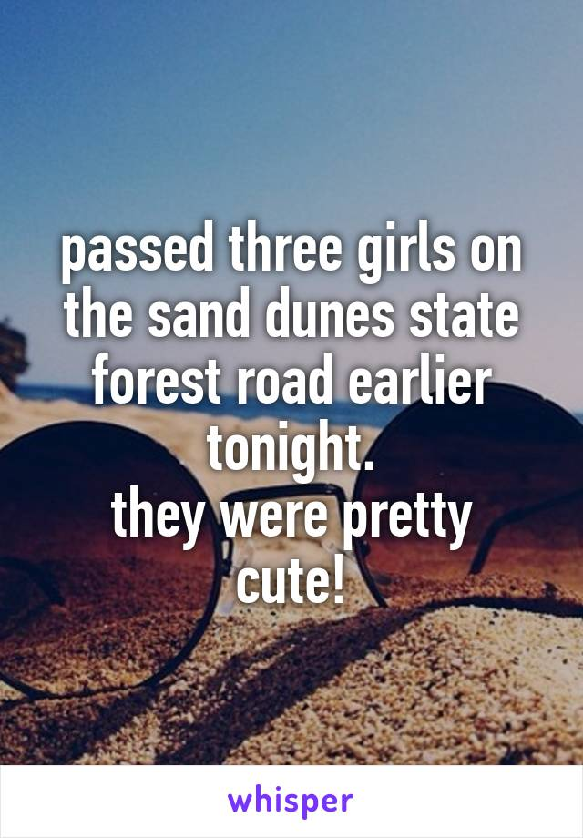 passed three girls on the sand dunes state forest road earlier tonight. they were pretty cute!