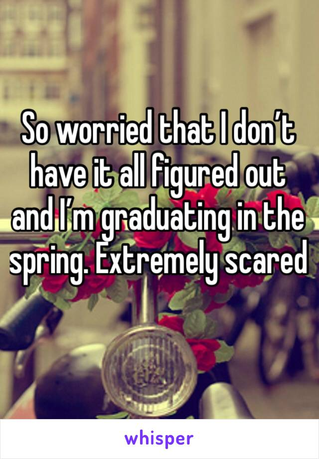 So worried that I don't have it all figured out and I'm graduating in the spring. Extremely scared