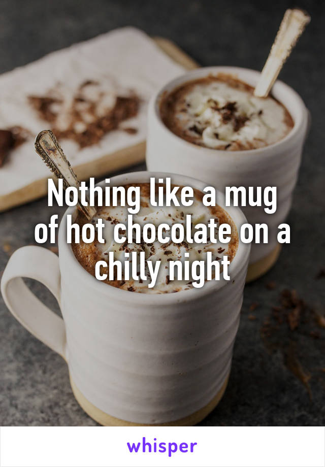 Nothing like a mug of hot chocolate on a chilly night
