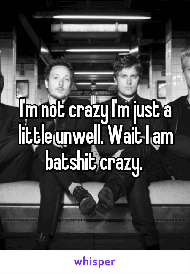I'm not crazy I'm just a little unwell. Wait I am batshit crazy.