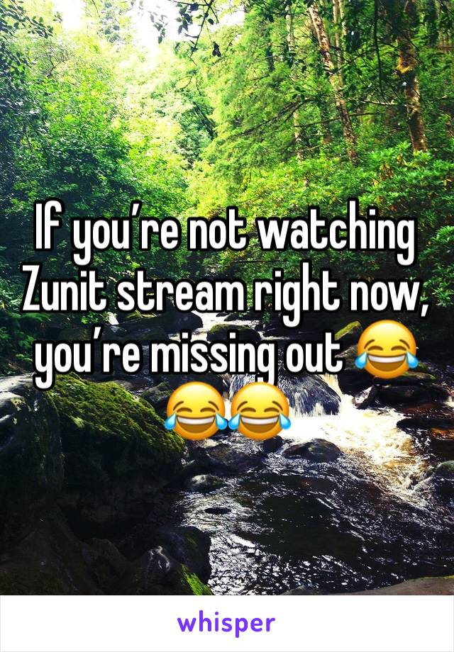 If you're not watching Zunit stream right now, you're missing out 😂😂😂
