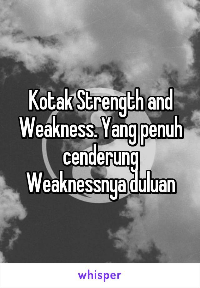 Kotak Strength and Weakness. Yang penuh cenderung Weaknessnya duluan