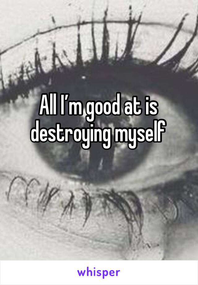 All I'm good at is destroying myself