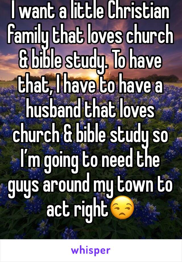 I want a little Christian family that loves church & bible study. To have that, I have to have a husband that loves church & bible study so I'm going to need the guys around my town to act right😒