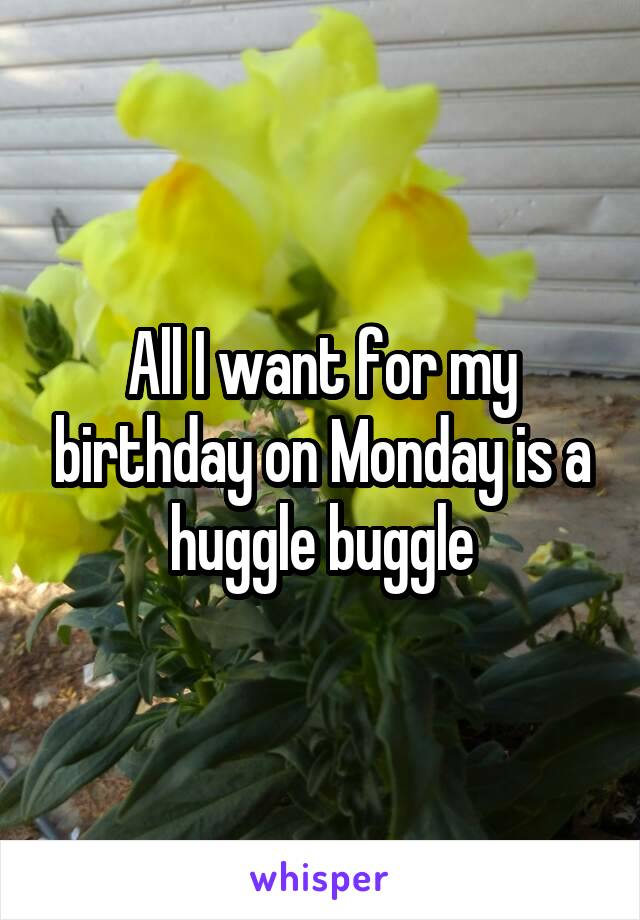 All I want for my birthday on Monday is a huggle buggle