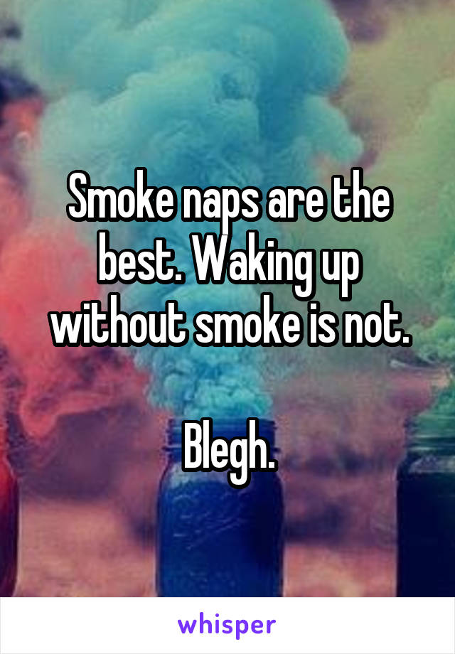 Smoke naps are the best. Waking up without smoke is not.  Blegh.
